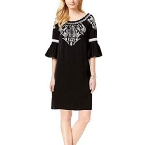 Charter Club embroidered bell-sleeve dress